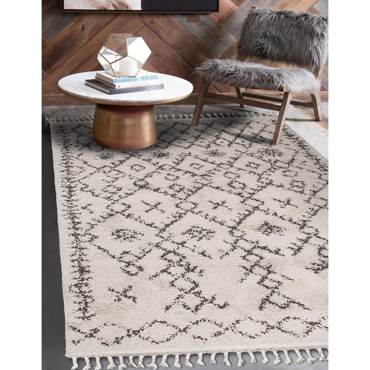 Shaggy Marrakech Rug 06 Cream/Black 3