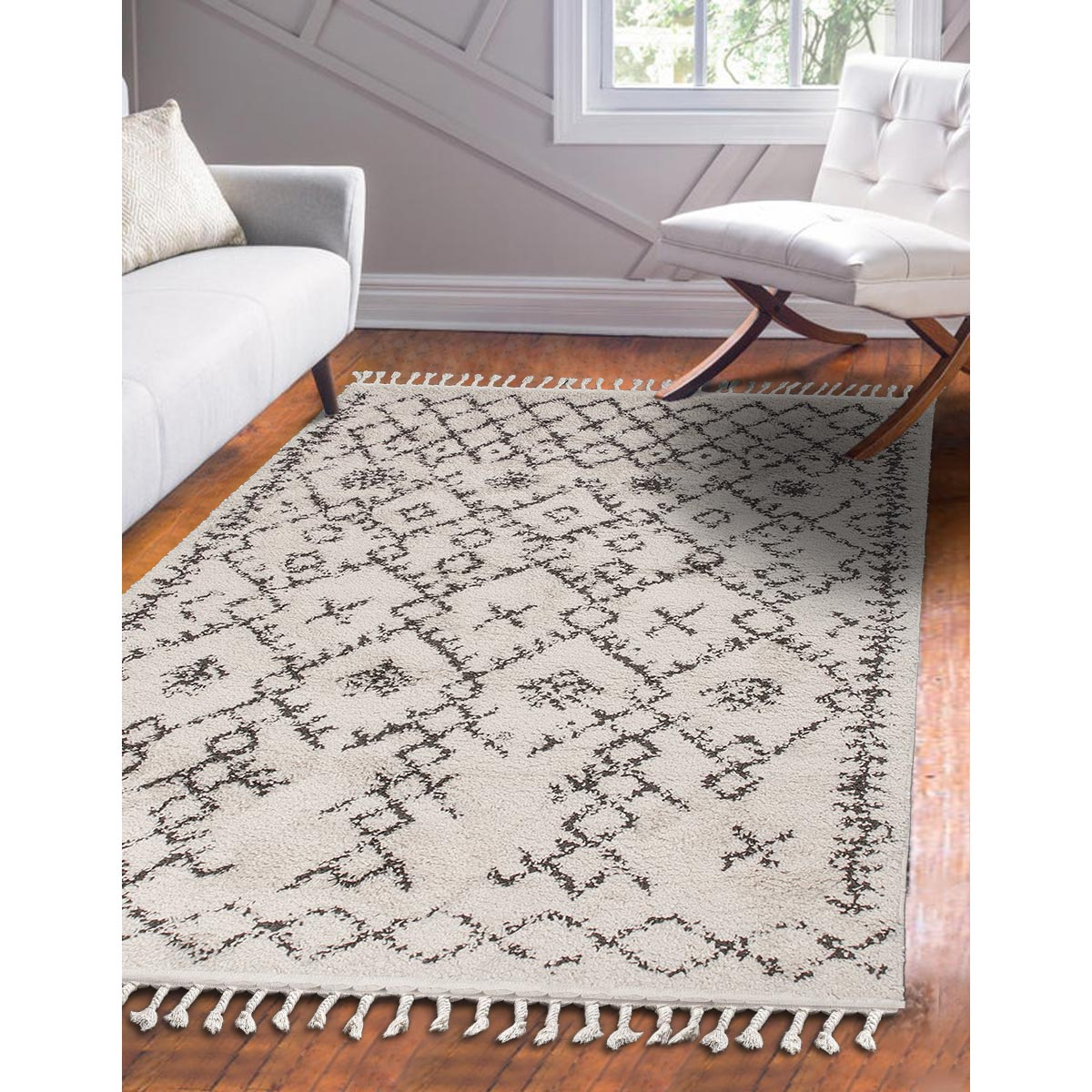 Shaggy Marrakech Rug 06 Cream/Black 2