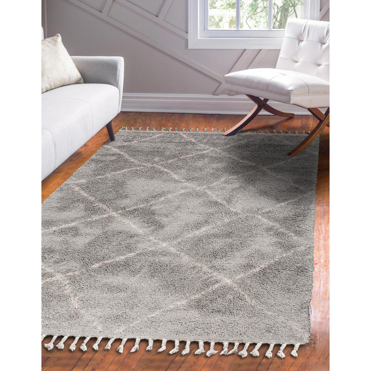 Shaggy Marrakech Rug 07 Grey/Cream 2