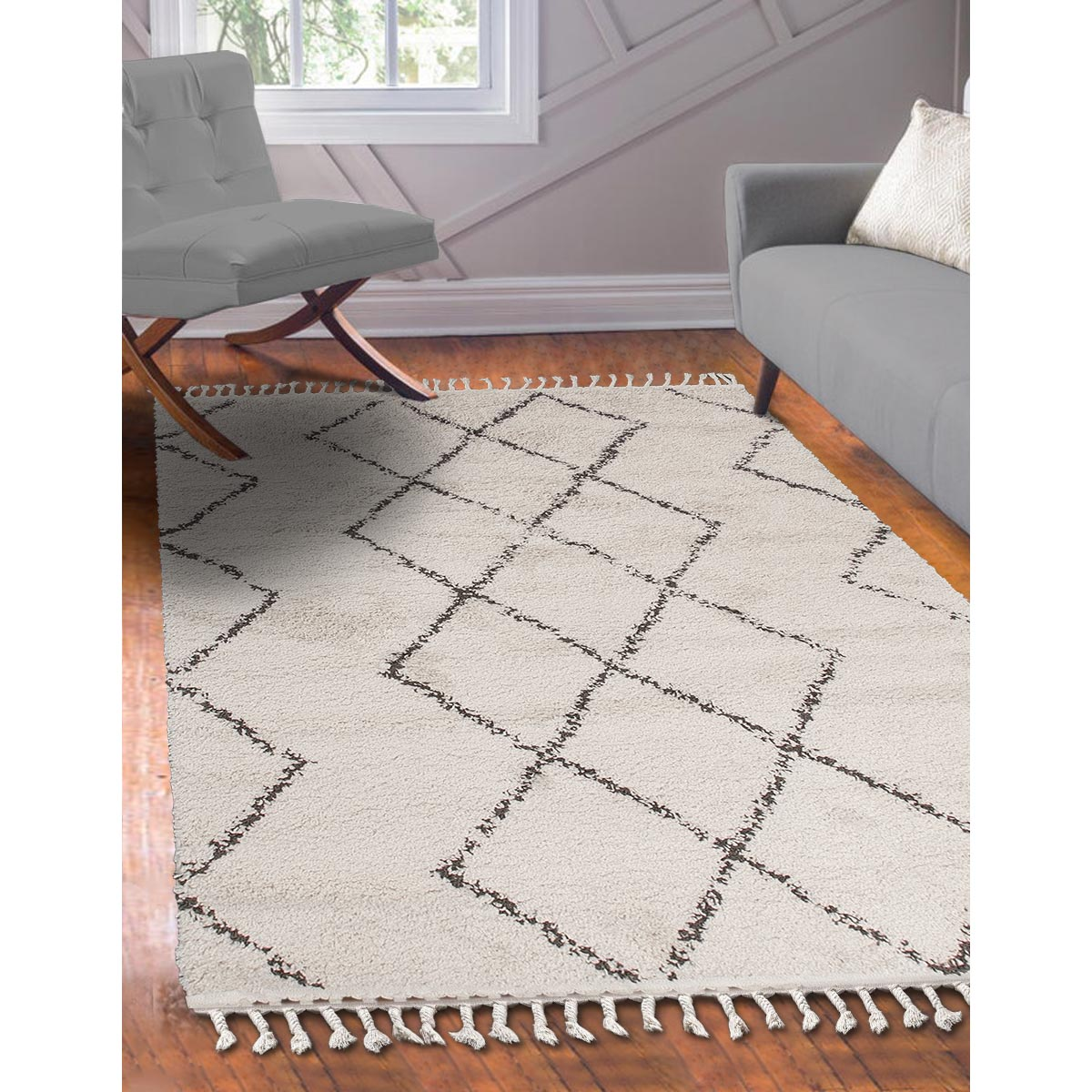 Shaggy Marrakech Rug 03 Cream/Black 3