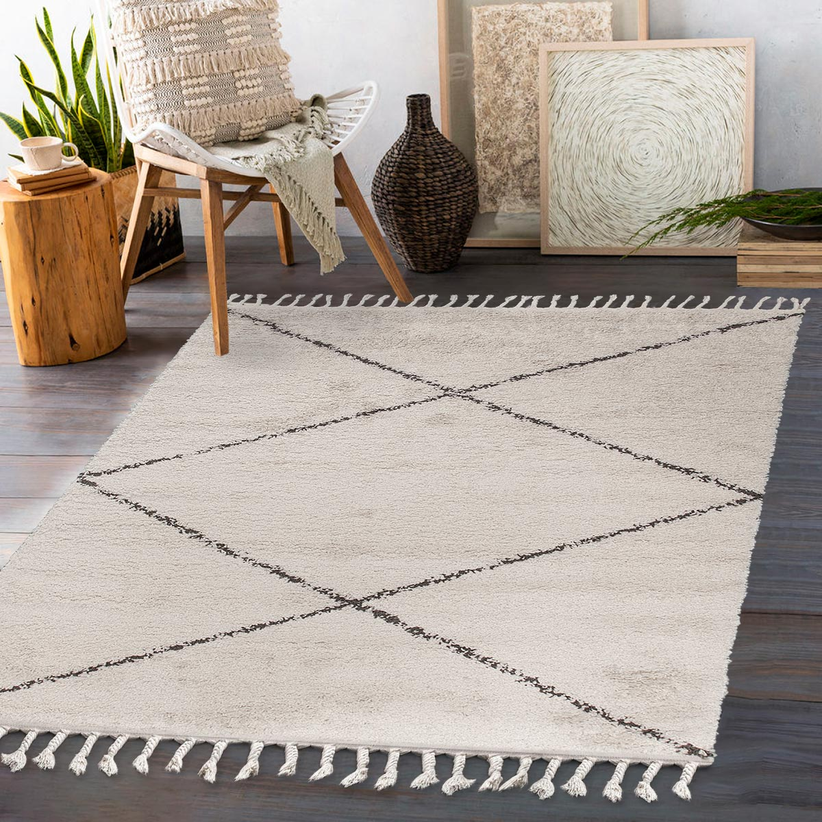 Shaggy Marrakech Rug 05 Cream/Black 3