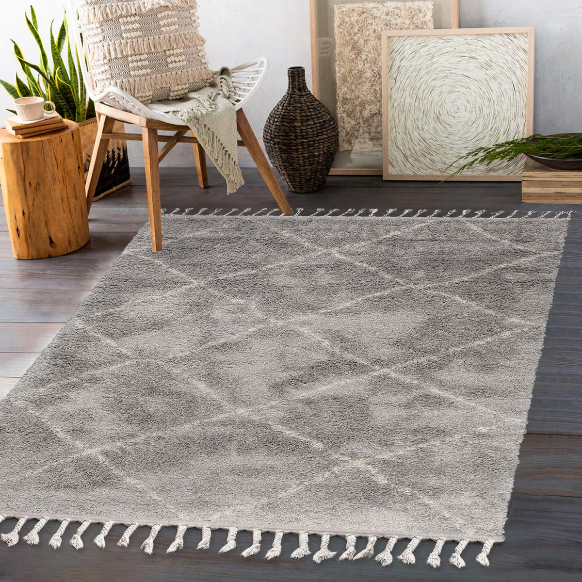 Shaggy Marrakech Rug 07 Grey/Cream 3
