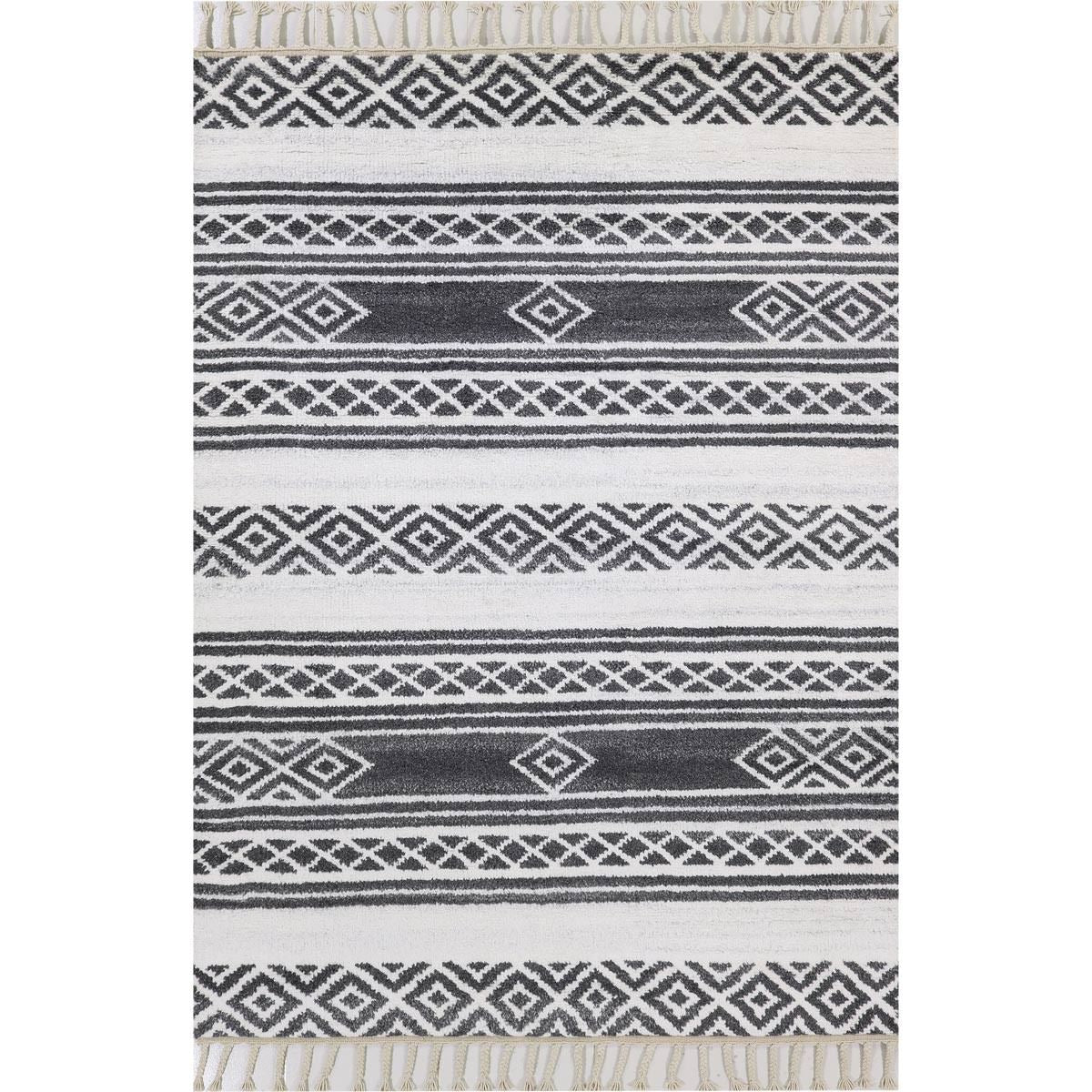 Moroccan Berber Rug 04 Dark Grey/White 1