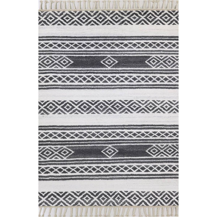 Moroccan Berber Rug 04 Dark Grey/White