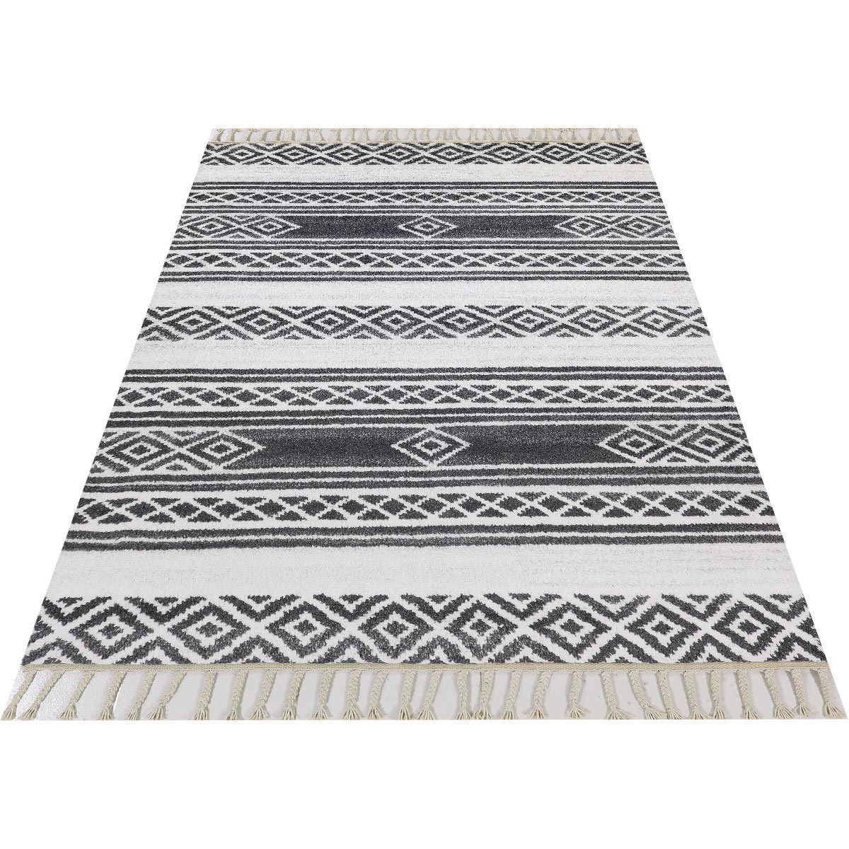 Moroccan Berber Rug 04 Dark Grey/White 2