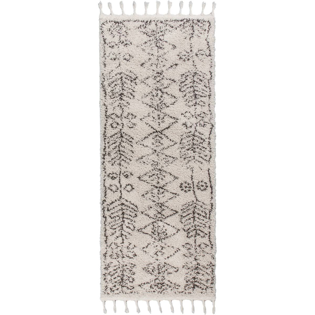 Shaggy Marrakech Rug 01 Cream/Black Runner 1