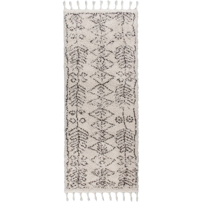 Shaggy Marrakech Rug 01 Cream/Black Runner
