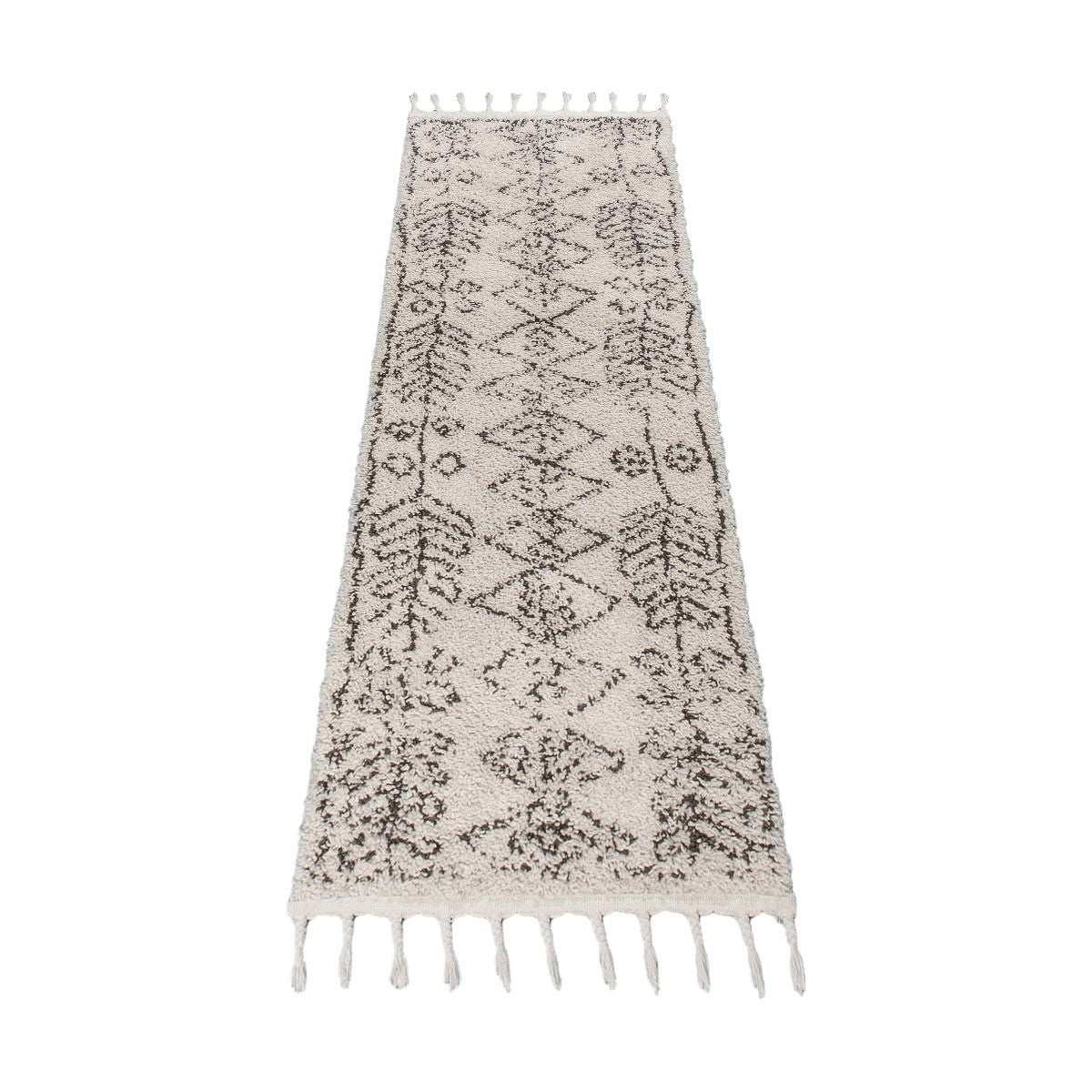 Shaggy Marrakech Rug 01 Cream/Black Runner 3