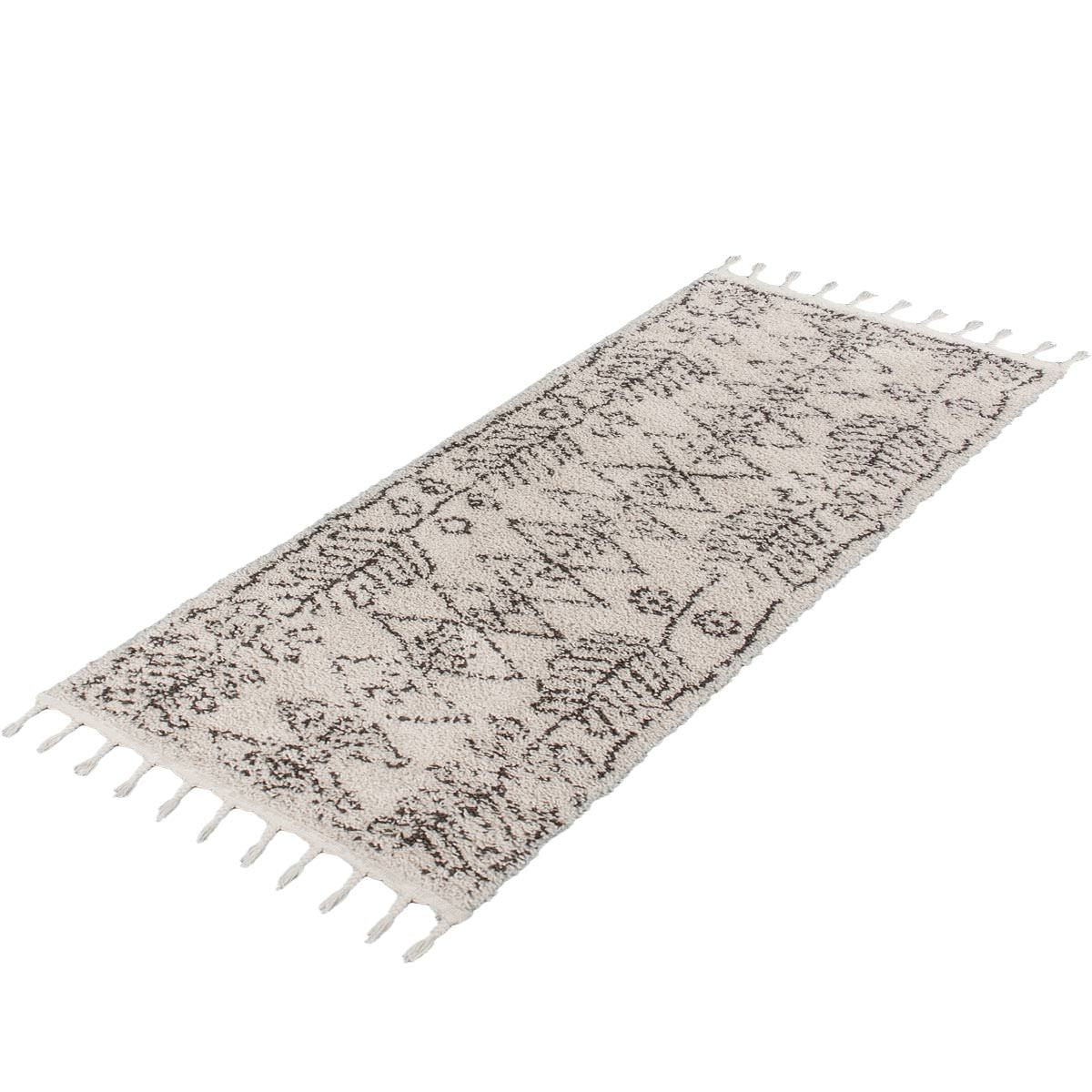Shaggy Marrakech Rug 01 Cream/Black Runner 4