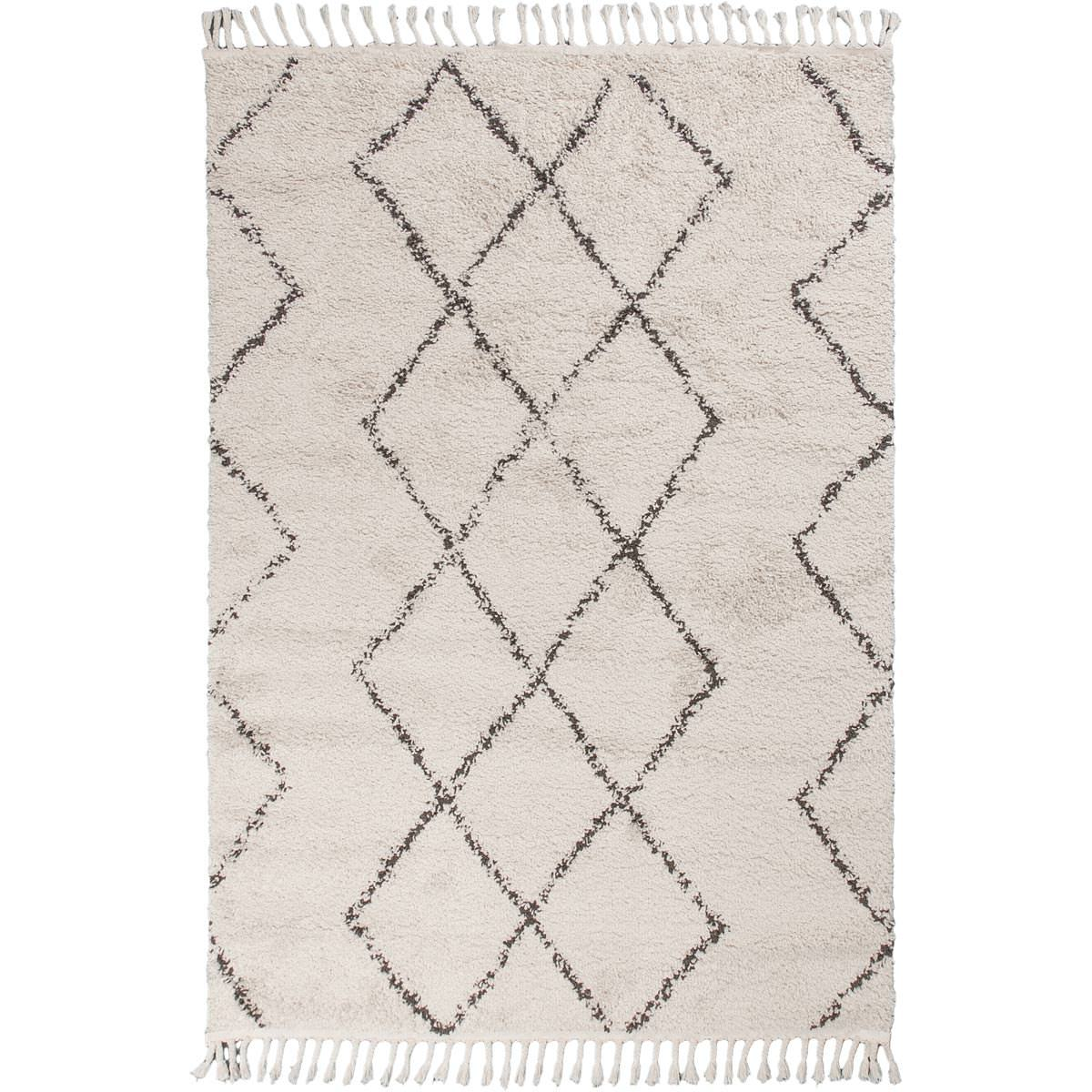 Shaggy Marrakech Rug 03 Cream/Black 1
