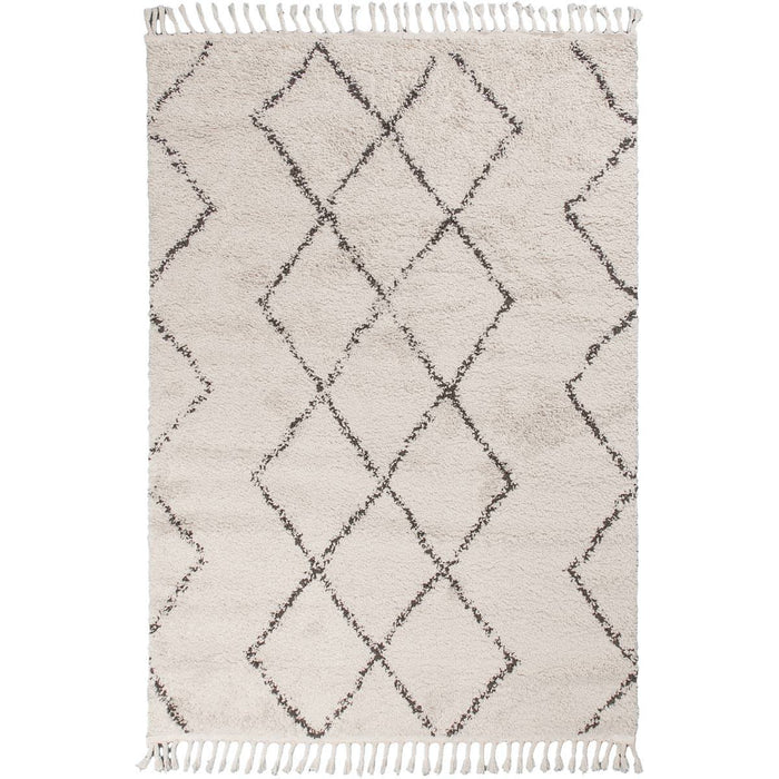 Shaggy Marrakech Rug 03 Cream/Black