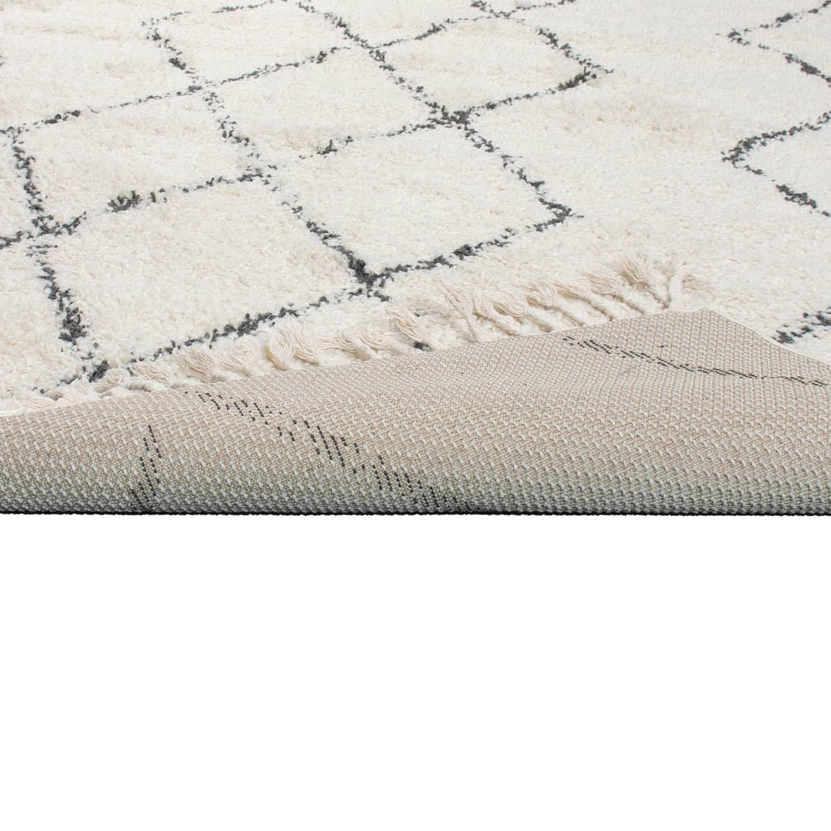 Shaggy Marrakech Rug 03 Cream/Black 4