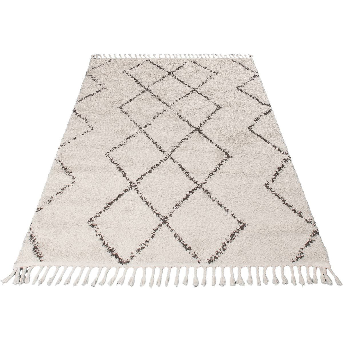 Shaggy Marrakech Rug 03 Cream/Black 8