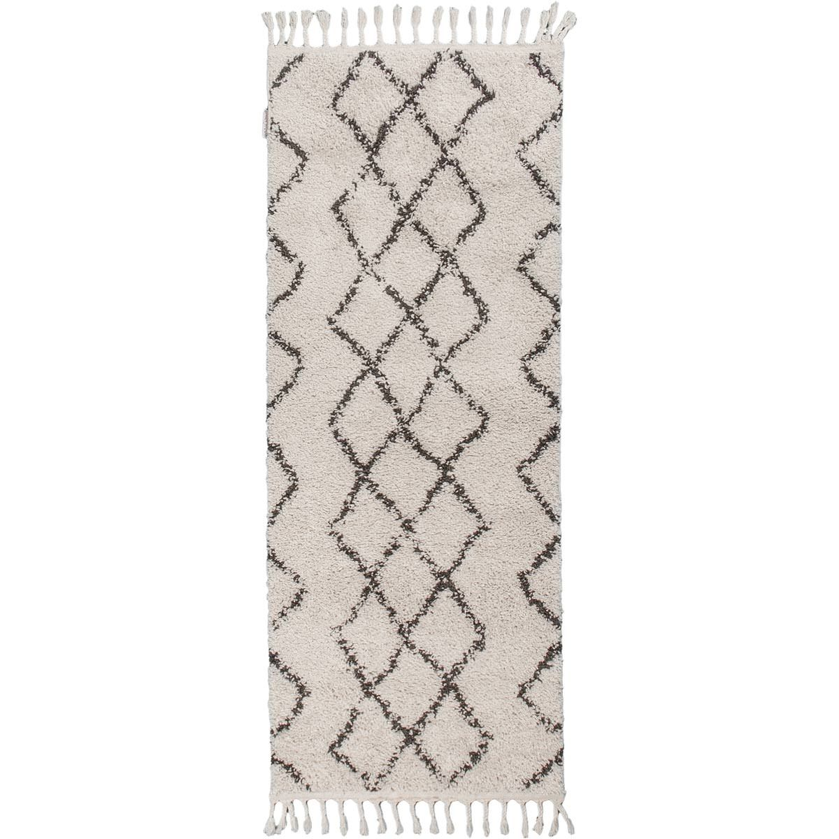 Shaggy Marrakech Rug 03 Cream/Black Runner 1