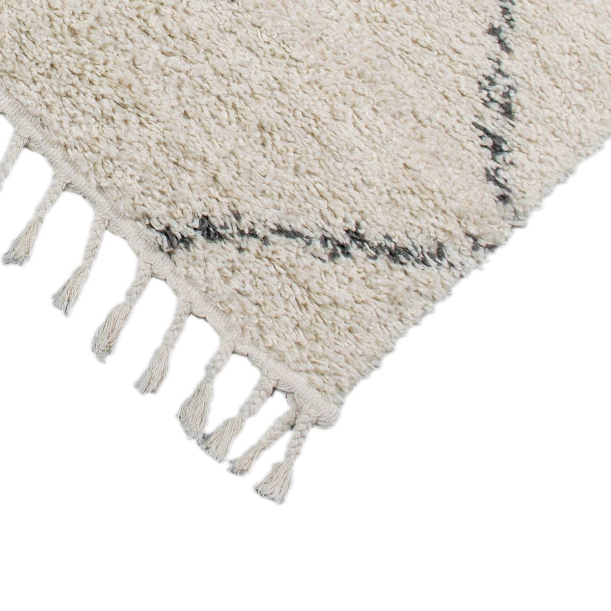 Shaggy Marrakech Rug 03 Cream/Black Runner 3