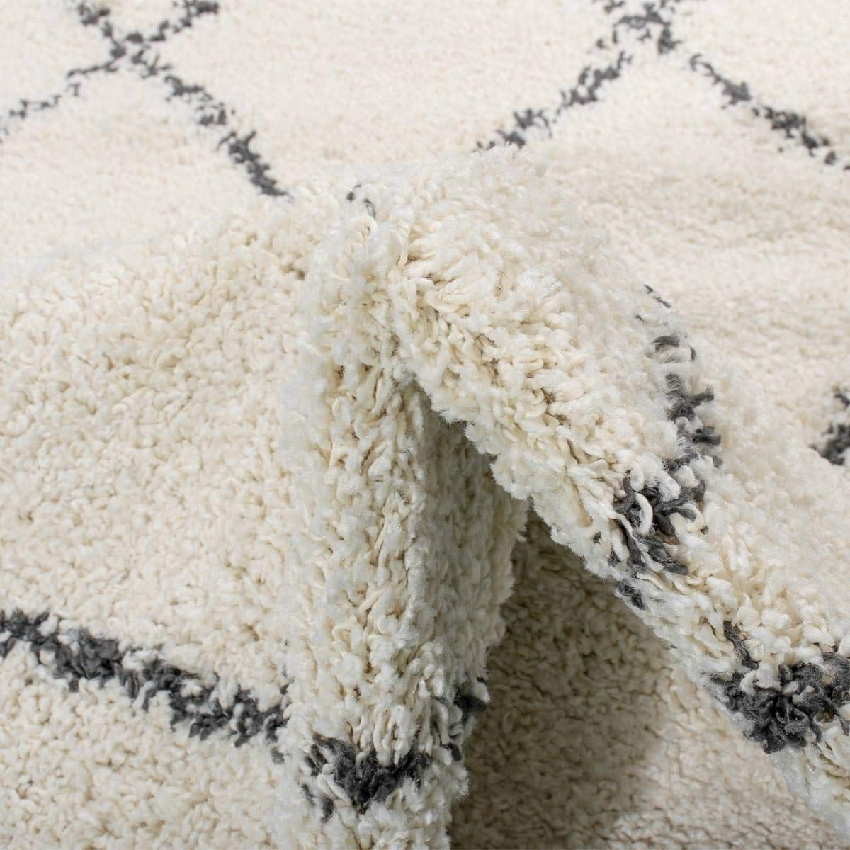 Shaggy Marrakech Rug 03 Cream/Black Runner 4
