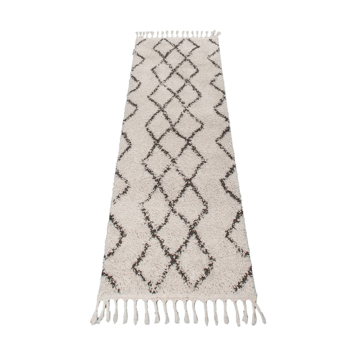 Shaggy Marrakech Rug 03 Cream/Black Runner 6