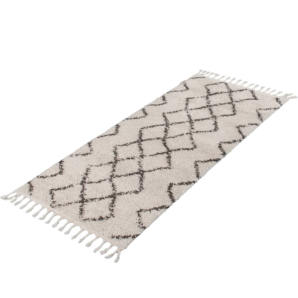Shaggy Marrakech Rug 03 Cream/Black Runner 7
