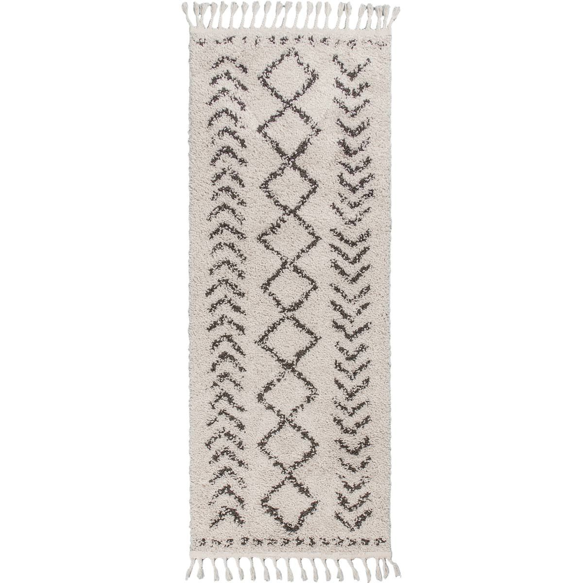Shaggy Marrakech Rug 04 Cream/Black Runner 1