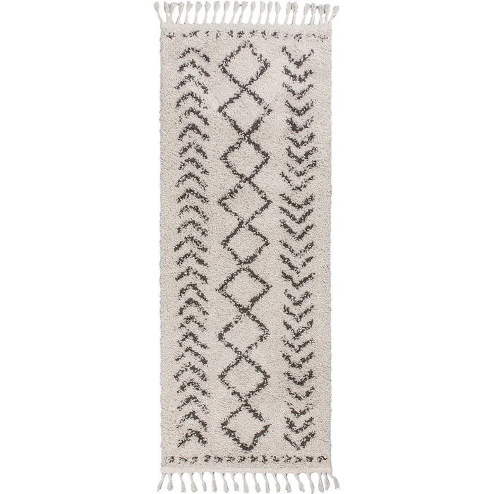 Shaggy Marrakech Rug 04 Cream/Black Runner