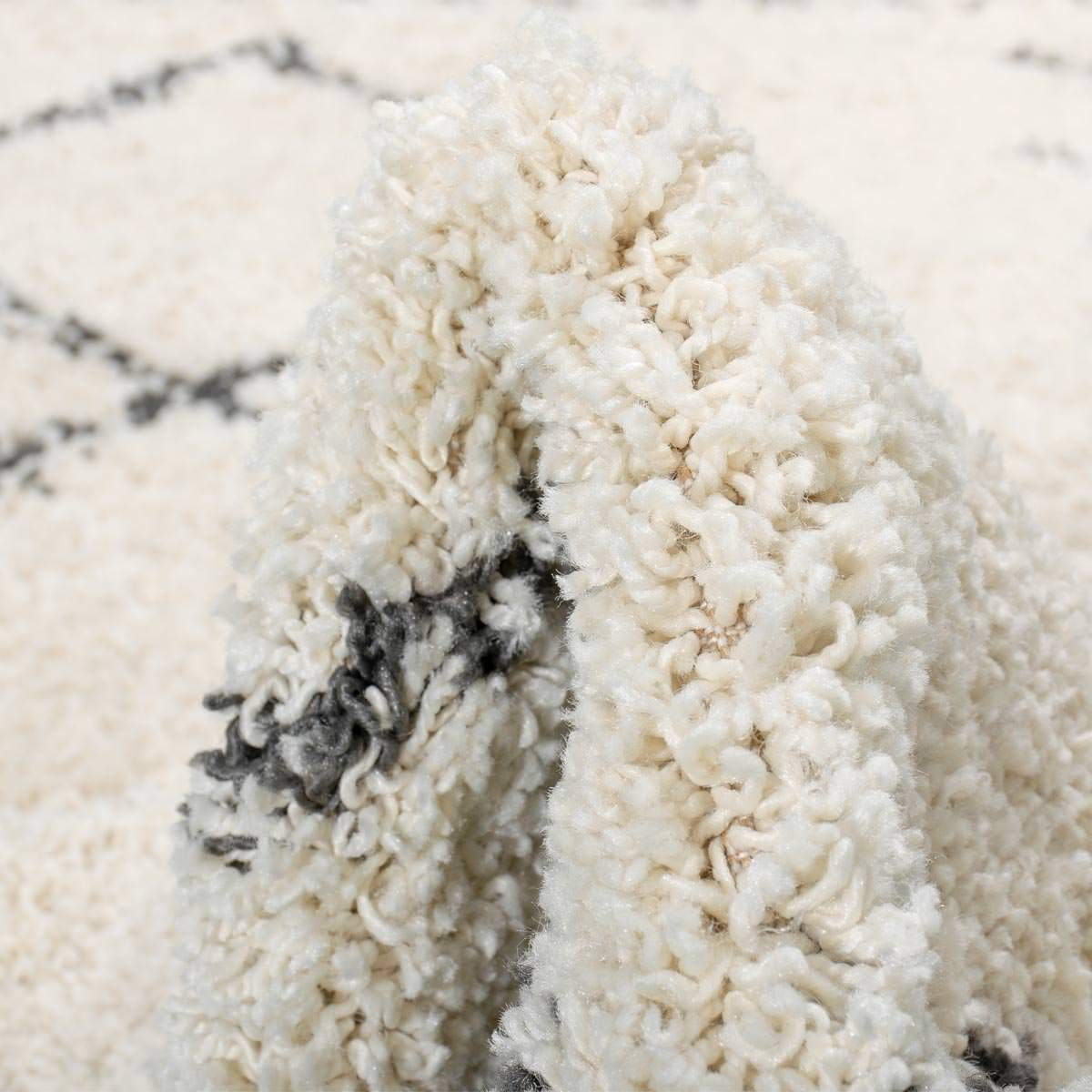 Shaggy Marrakech Rug 04 Cream/Black Runner 4