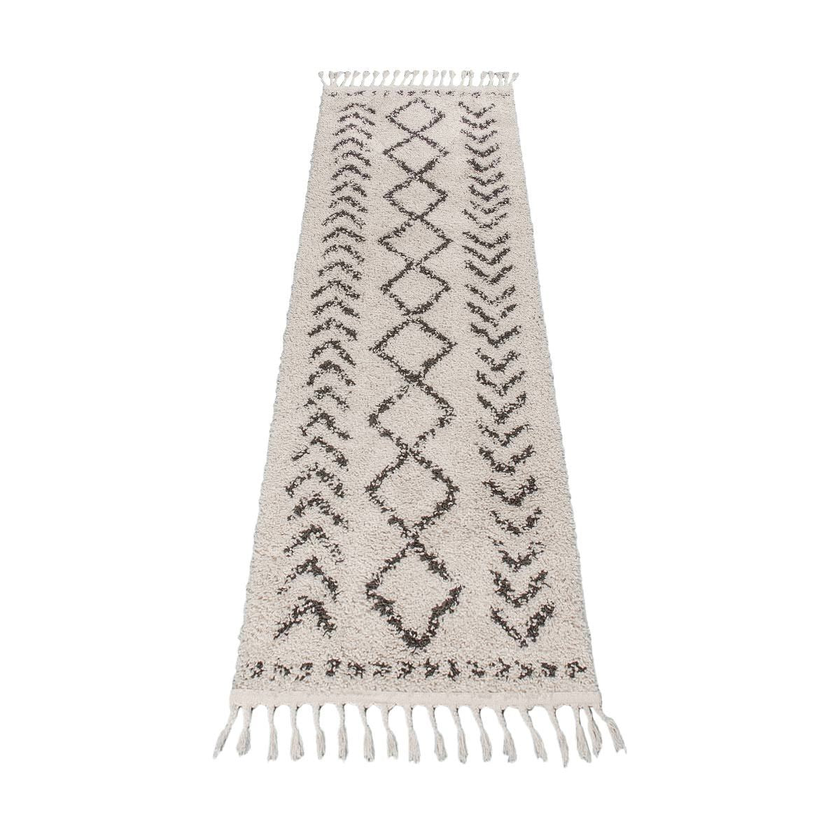 Shaggy Marrakech Rug 04 Cream/Black Runner 5