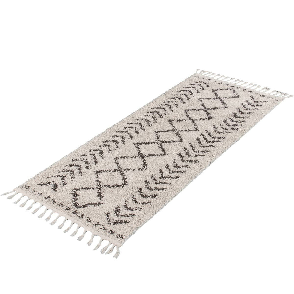 Shaggy Marrakech Rug 04 Cream/Black Runner 7