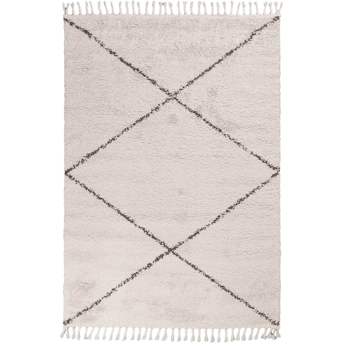 Shaggy Marrakech Rug 05 Cream/Black 1