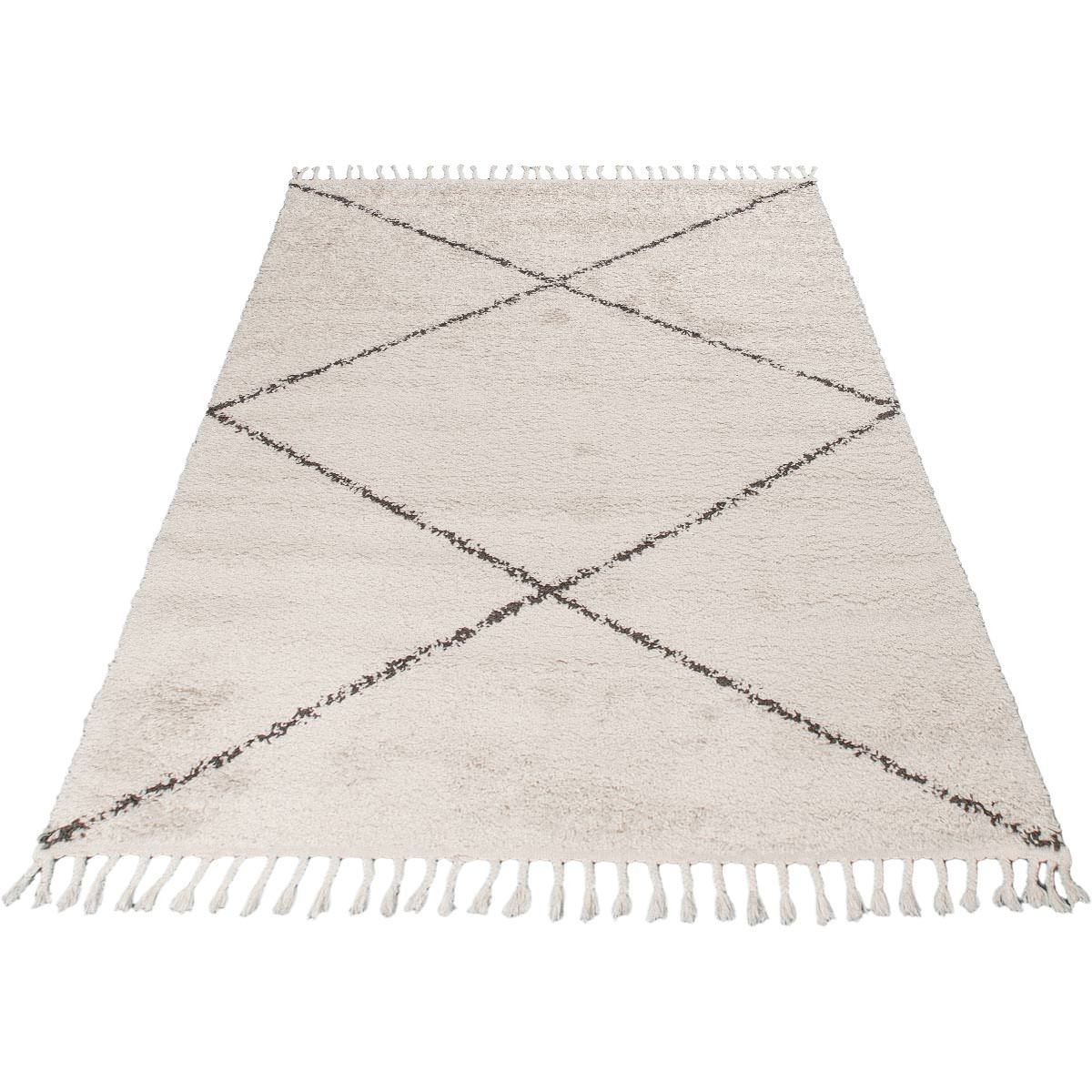 Shaggy Marrakech Rug 05 Cream/Black 6