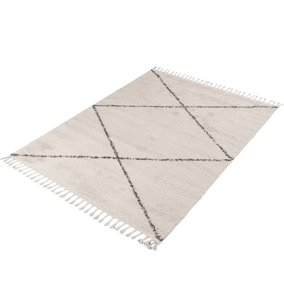 Shaggy Marrakech Rug 05 Cream/Black 7