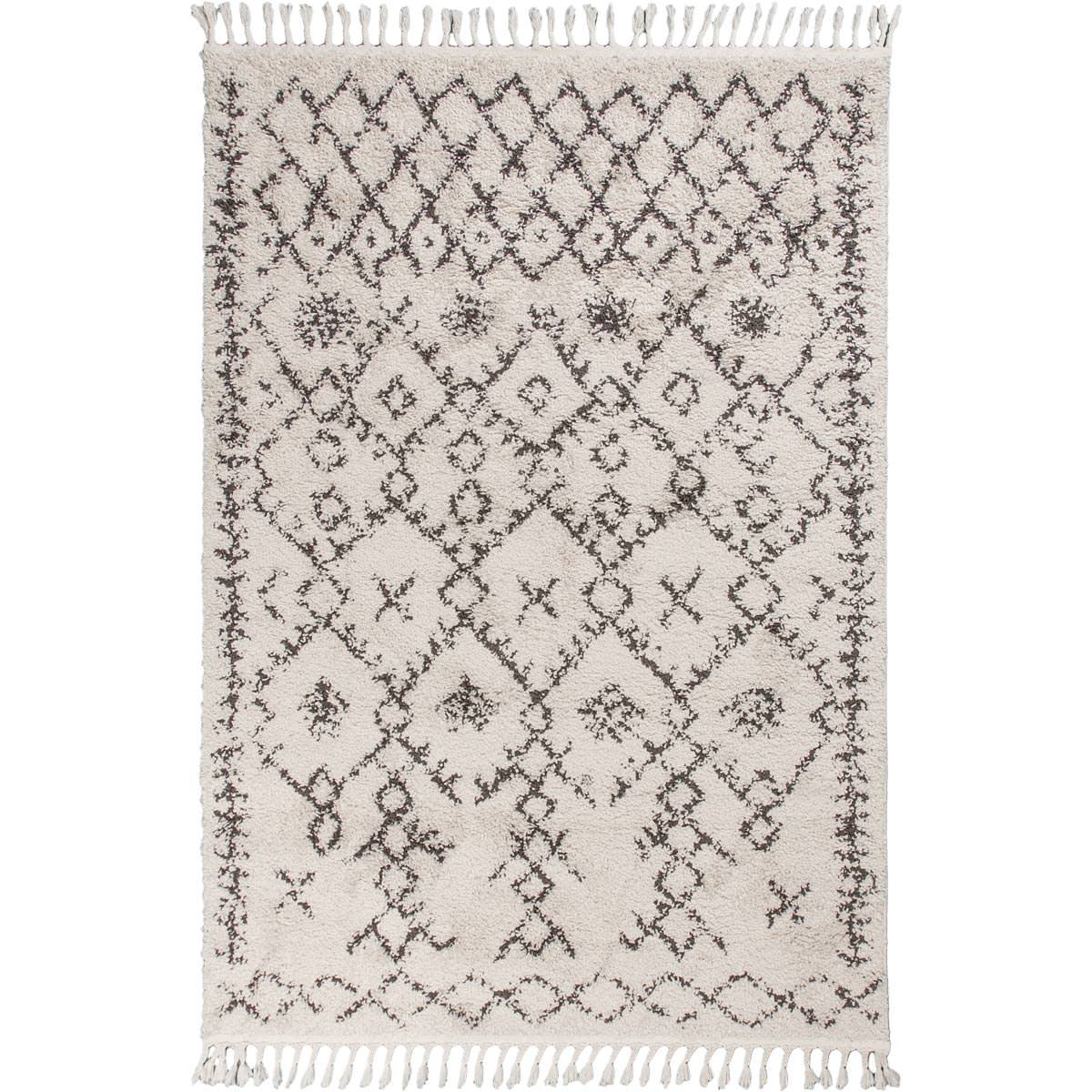 Shaggy Marrakech Rug 06 Cream/Black 1