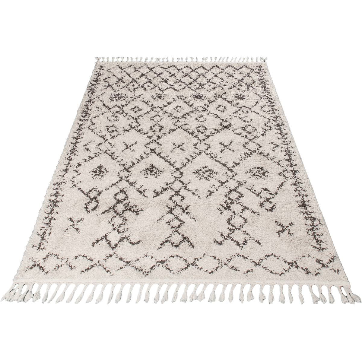 Shaggy Marrakech Rug 06 Cream/Black 5
