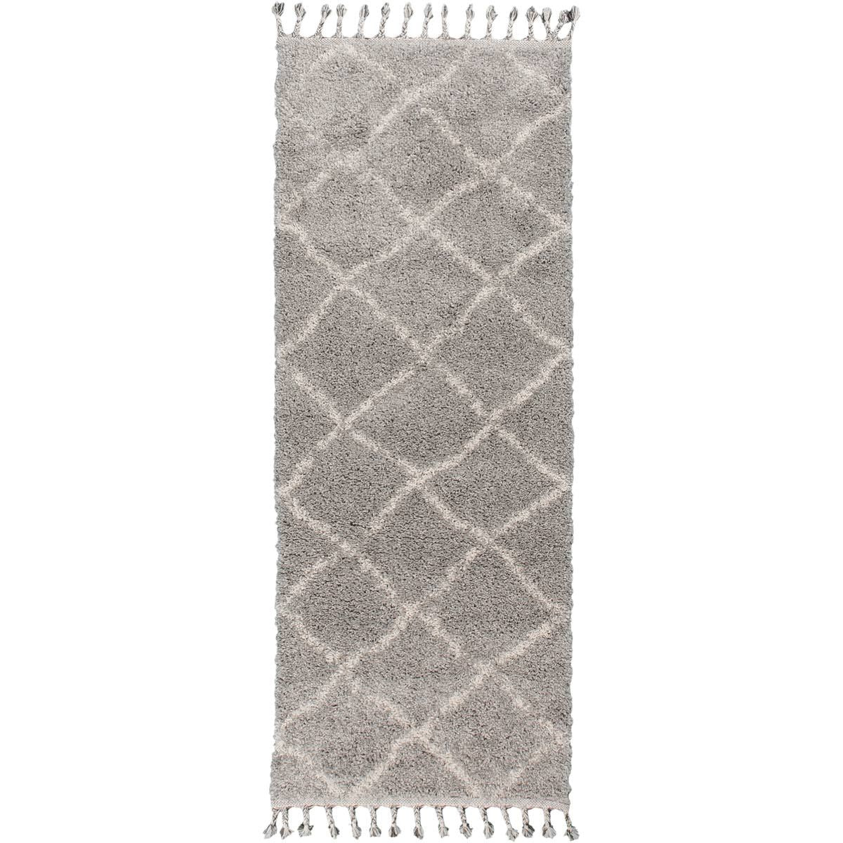Shaggy Marrakech Rug 07 Grey/Cream Runner 1
