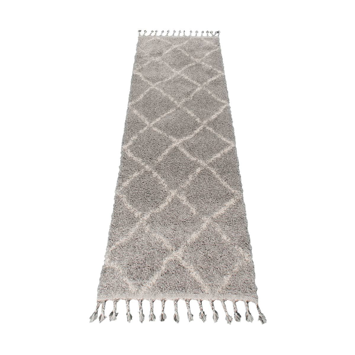 Shaggy Marrakech Rug 07 Grey/Cream Runner 5
