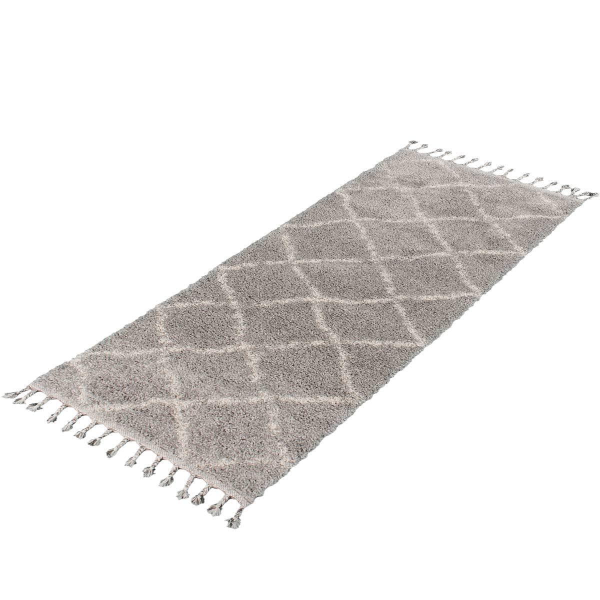 Shaggy Marrakech Rug 07 Grey/Cream Runner 6