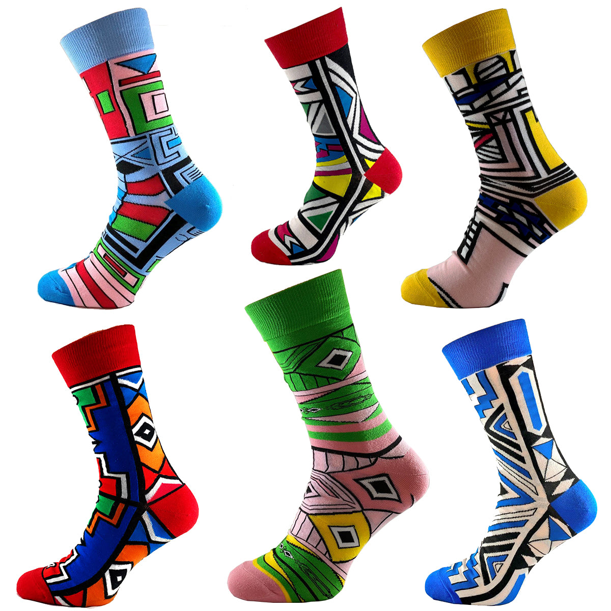 SMC Collection - African Print  Unisex Cultural Fashion Socks - 6 Pack