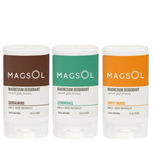Load image into Gallery viewer, MAGSOL Deodorant 3 Pack Set of Travel Sizes (0.5 oz each)