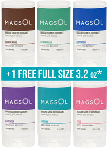 MAGSOL Deodorant 6 Pack Set of Travel Sizes (0.5 oz each) + FREE Full Size
