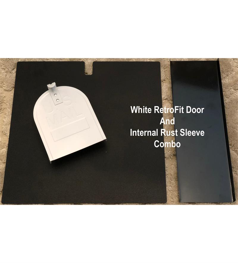 "6 1/4""(w) x 8""(h) Small Rust Sleeve and RetroFit Door Combo-White"