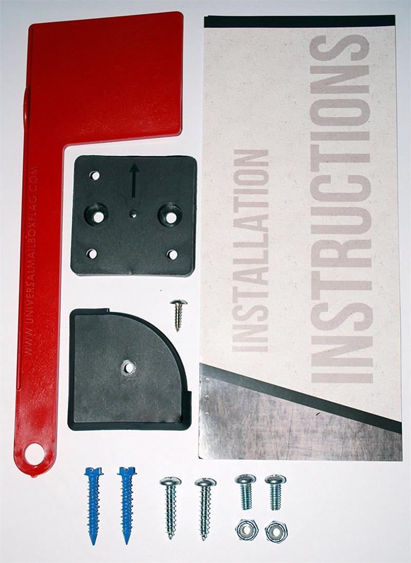 "8""(w) x 10""(h) Large  RetroFit Black and Universal Mailbox Flag Kit"