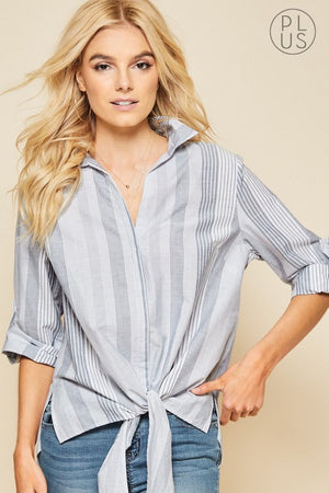 Navy Striped Blouse (Curvy)