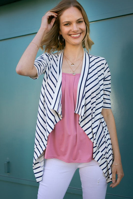 Navy & White Draped Cardigan