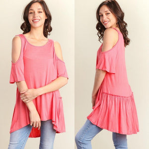 Pinky Ruffle Cold Shoulder