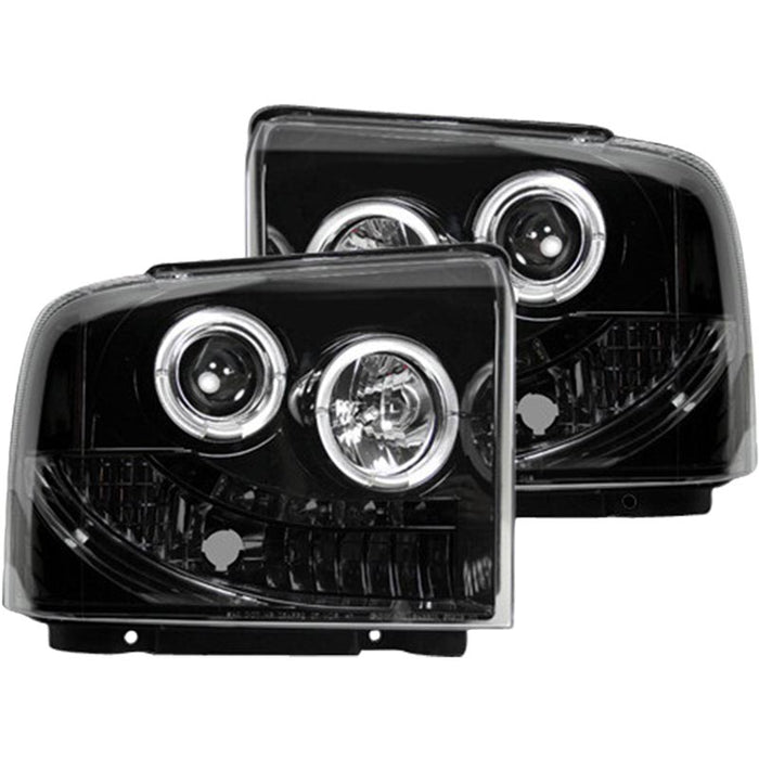 RECON 264193BK SMOKED PROJECTOR HEADLIGHTS WITH LED HALOS - sunny-diesel-performance
