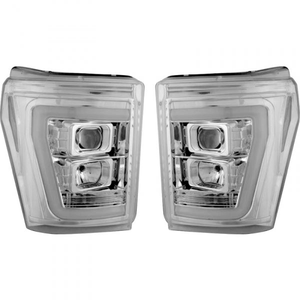 RECON 264272CLC CLEAR PROJECTOR HEADLIGHTS WITH OLED U-BAR - sunny-diesel-performance
