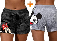 Mickey & Minnie Print Drawstring Soft Shorts