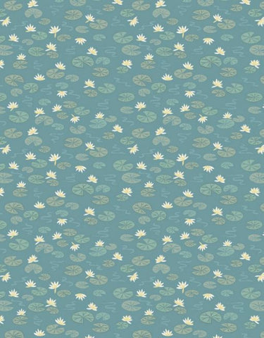 Down by the River, Lilly pads on teal by Lewis & Irene