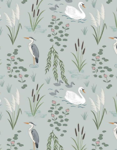Down by the River,  swan & heron on light grey by Lewis & Irene