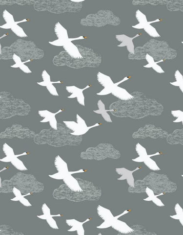 Down by the River,  Swans in flight,  grey by Lewis & Irene