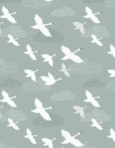 Down by the River,  Swans in flight, pale grey by Lewis & Irene